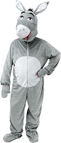 Mens Ladies grau Donkey Mascot Animal Stag Do Night Fancy Dress Costume Outfit (One Größe)