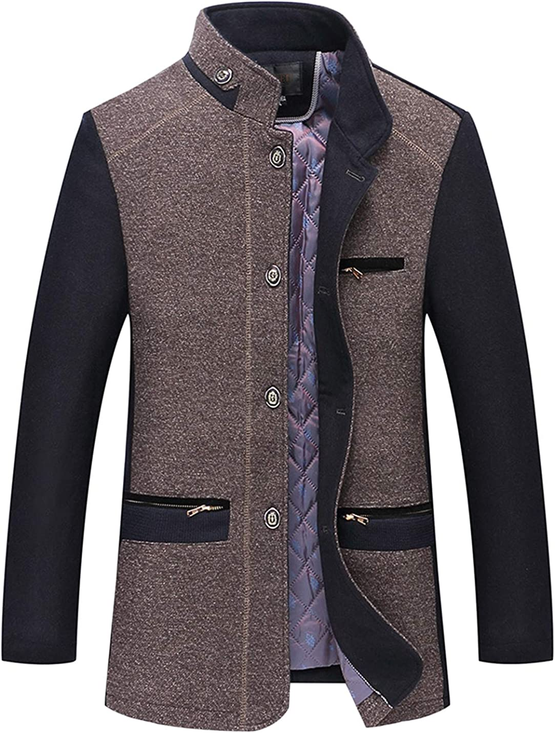 UANEO Men's Winter Casual Stand Collar Single Breasted Wool Blend Pea Coats (Coffee, X-Small)