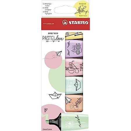 Surligneur pastel - STABILO BOSS MINI Pastellove - Étui carton x 6 surligneurs - Coloris pastel assortis