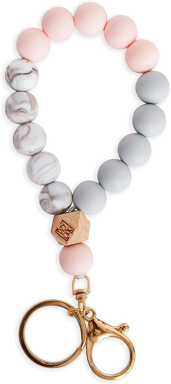 Dizzy Creek Designs Silicone Key Ring Bracelet for Women - Unique Stylish Beaded Bangle Wristlet Keychain