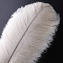 10pcs Natural Ostrich Feathers Plume - 12-14inch(30-35cm) for Wedding Centerpieces Home Decoration (30-35cm,White)