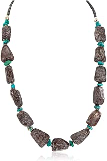 $270Tag Silver Certified Navajo Natural Turquoise Native American Necklace 25342-4 Made by Loma Siiva