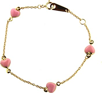 18KT Yellow Gold Pink Enamel Flower with Pink Stones Bracelet 6 inches