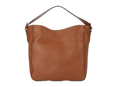 Shinola Detroit Gibson Hobo Pebble Grain Leather MG (Cognac) Handbags