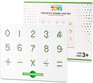 Magnetic Number Board by California Toys - Writing Board for Kids - Stem Drawing Board with Numbers and Symbols - User-Friendly Magnetic Stylus with Storage Slot - Educational and Interactive