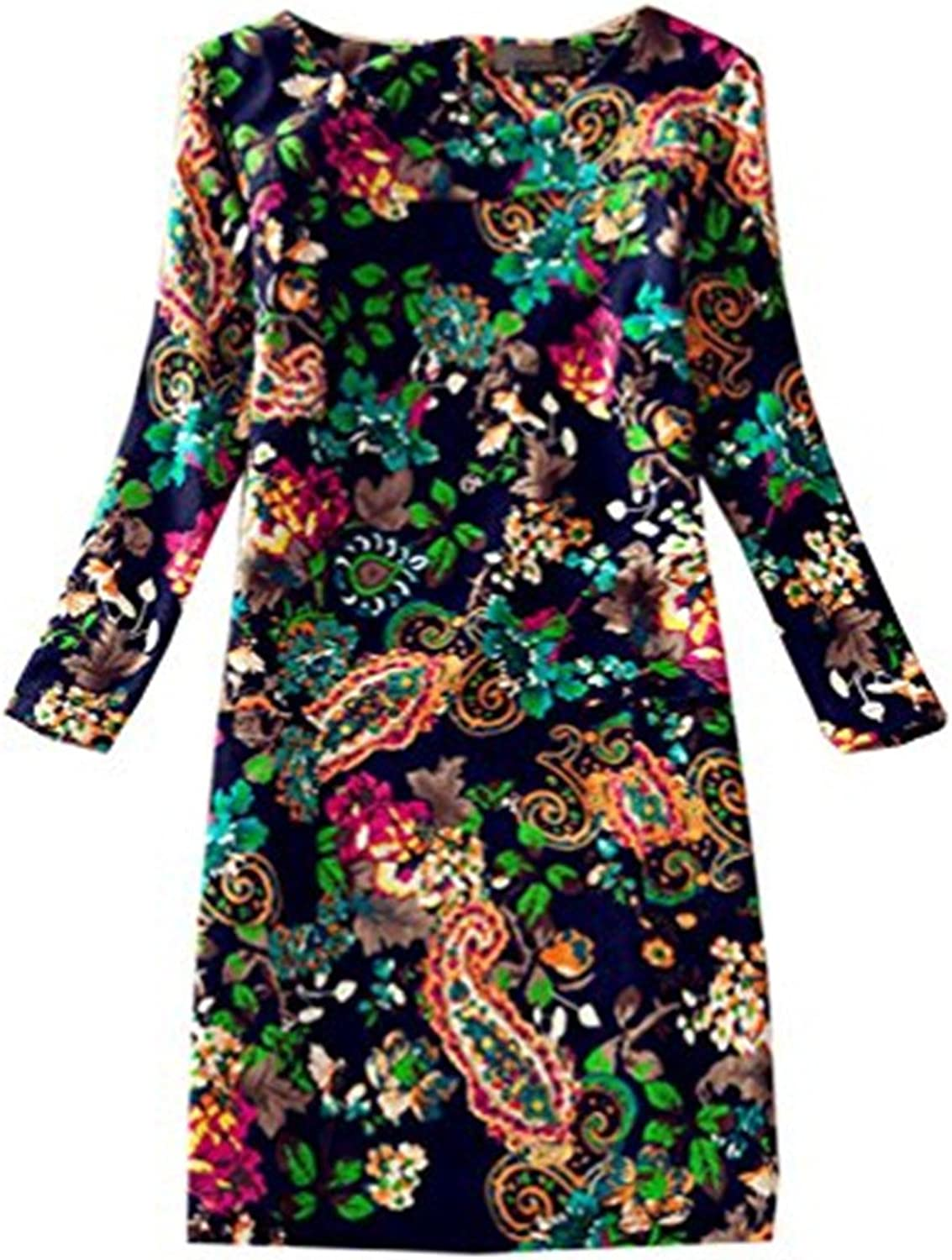 Daysoft Women Vintage Autumn Loose Floral Print Long Sleeve Aline Tunic Shift Casual Dress