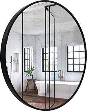 "GBU Black Round Mirror - 23.6"" Wall Mounted Circle Mirror for Bathroom Living Room Bedroom Rustic Accent Decor Mirror, Wall A"