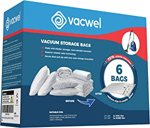 Vacwel XXL & Jumbo Size Vacuum Storage Bags for Cushions, Pillows, & Comforter Storage. Space Saver Bags