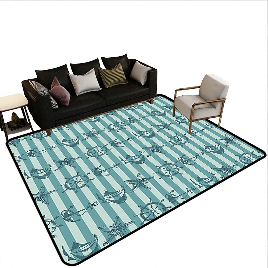 Ships Wheel Decor Floor Cover Very popular! Retro Many popular brands Nautical with Ship Pattern