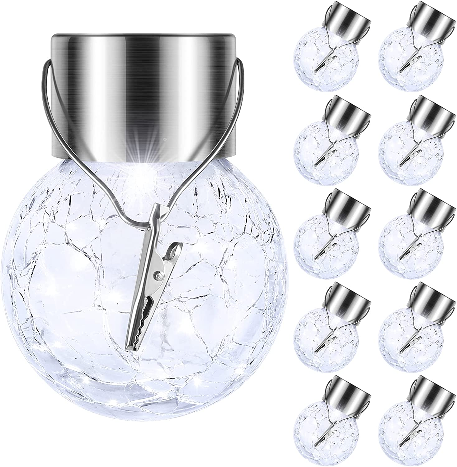 10-Pack Hanging Solar Lights Outdoor, Decorative Cracked Glass Ball Light, Solar Powered Waterproof Globe Lighting with Handle for Garden, Yard, Patio, Tree, Holiday Decoration(Cool White)