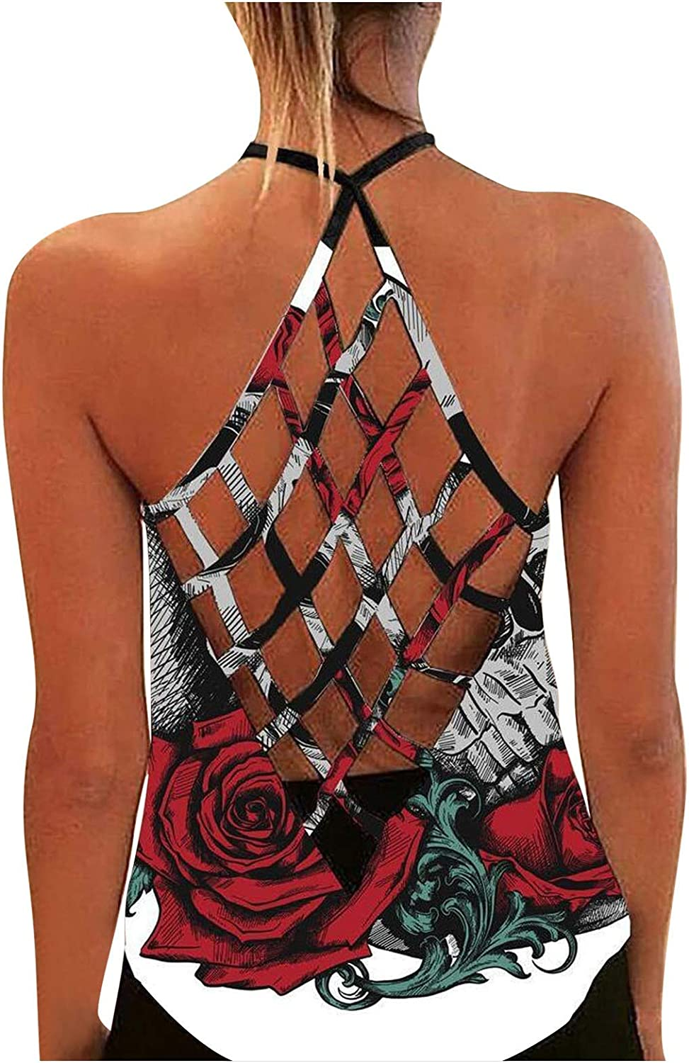 AODONG Tank Tops for Women, Womens Summer Tops O Neck Strap Graphic Printed Crop Tops Casual Loose Tops Sleeveless Blouses