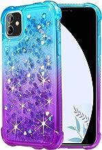 Flocute Glitter Case for iPhone 11 Glitter Case Gradient Series Bling Sparkle Floating Liquid Soft TPU Cushion Luxury Fashion Girly Women Cute Phone Case (Teal Purple)