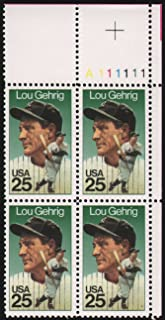 LOU GEHRIG ~ BASEBALL ~ THE IRON HORSE ~ ALS #2417 Plate Block of 4 x 25¢ US Postage Stamps
