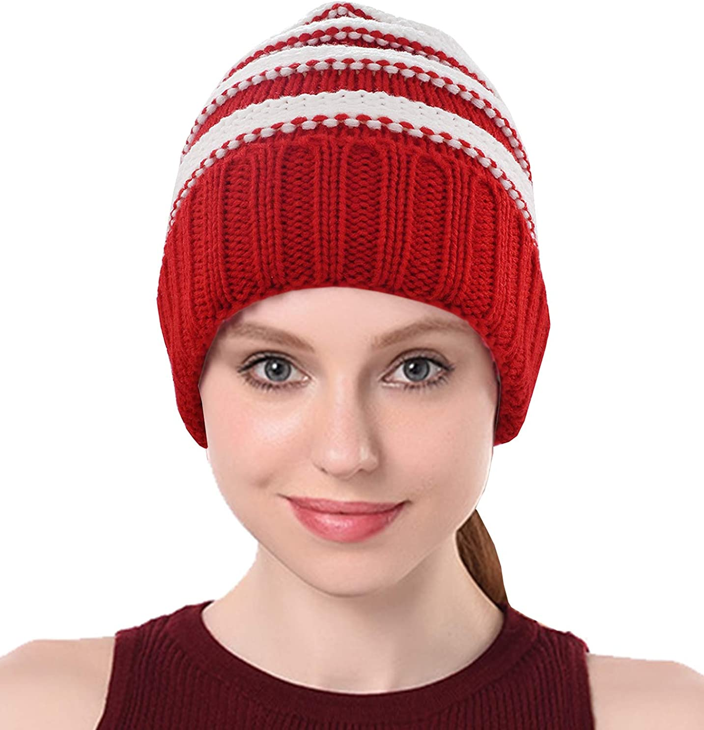 Chunky Cable Knit Slouchy Beanie,Trendy Warm Unisex,Thick Soft Warm Winter Hat Cap
