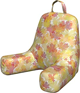 Lunarable Autumn Fall Reading Pillow, Last Months of The Year Themed Foliage Pattern Maple Tree Leaf Design Canada, Padded Resting Pillow with Back Pocket and Washable Cover, Small, Multicolor