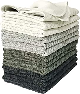 VibraWipe Microfiber Cleaning Cloths, 4 Shades of Gray, 12-Pieces. Highly Absorbent, Lint-Free, Streak-Free, for Kitchen, Car, Window