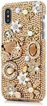 iPhone Xs Max Bling Case,iPhone Xs Max Crystal Diamond Case,FreeAir 3D Handmade Crystal Bling Diamonds Shiny Rhinestone Champagne Bag Soft Case for iPhone Xs Max (6.5 inch)