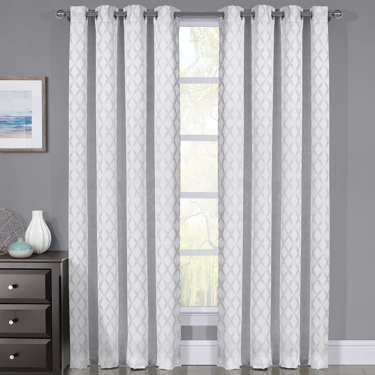Royal Bedding pinkline White Curtains, Top Grommet 100% Blackout, Thermal Insulated Window Curtain Panels, Pair Set of 2 Panels, 54Wx96L inches Each