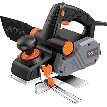"""Planer, TACKLIFE Power Hand Planer, 7.5 Amp 900W 14500Rpm 3-1/4-Inch, with 1/96"""" to 1/8"""" Adjustable Cut Depth, 2-Side Blow Chips, Parallel Fence Bracket - EPN02A"""
