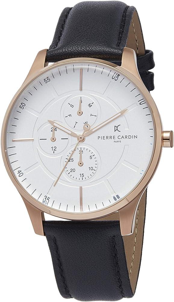 Pierre cardin,orologio per uomo,in acciaio inossidabile e cinturino in vera pelle al 100% PC902731F117