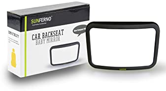 Sunferno Baby Car Mirror | Shatterproof, No Assembly Required, Adjustable | Rear Facing Car Seat Mirror for Effortles...