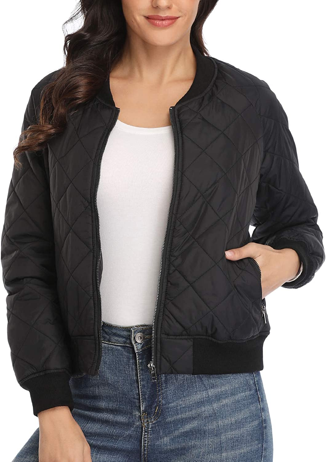 Dilgul Womens Quilted 5 ☆ popular Jacket Lightweight Rag Manufacturer direct delivery Up Long Zip Sleeves