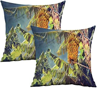 Khaki home Fruits Square Body Pillowcase Tropic Yummy Ripe Bananas Square Custom Pillowcase Cushion Cases Pillowcases for Sofa Bedroom Car W 18