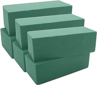 Premium Floral Foam Bricks Green Styrofoam Wet Foam Blocks 2.87 x 3.87 x 8.87 inches - 6/Pkg Green