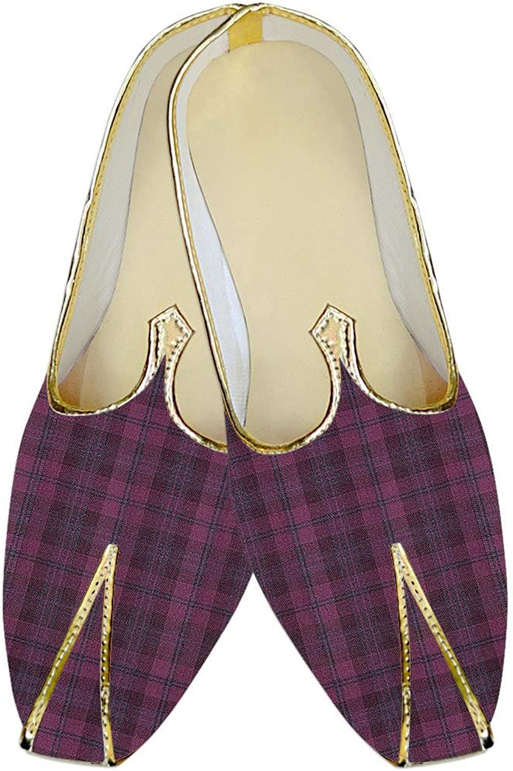 INMONARCH Mens Pink Checks Poly Viscose Wedding shoes MJ015611