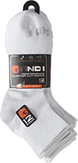 12-Pairs AND1 Performance Quarter Cut Socks, Arch Compression, Lightweight, Men's Size 6-12.5, White