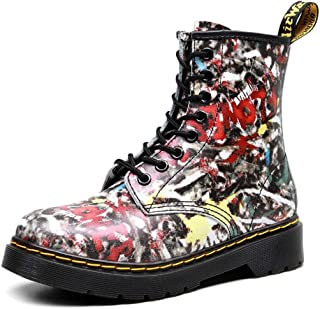 Dr. Martin unisex boots Flower skin couple short boots round head leather boots trend locomotive shoes eight-hole lace-up boots high-top thick bottom bare boots (Color : Multi-colored, Size : 43)