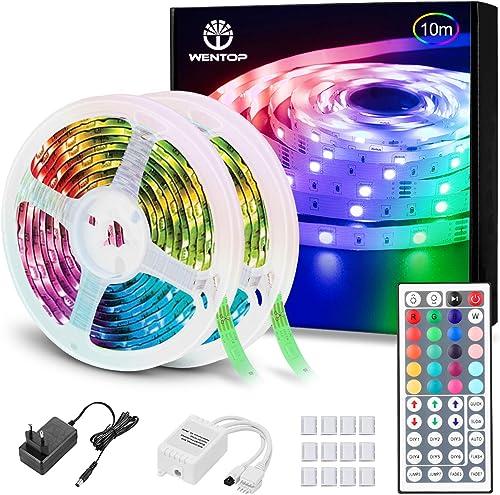 WenTop Tiras LED RGB 10M, Luces LED Habitación, 5050 Multicolor, Control Remoto de 44 Botones y Fuente de 12V Aliment...