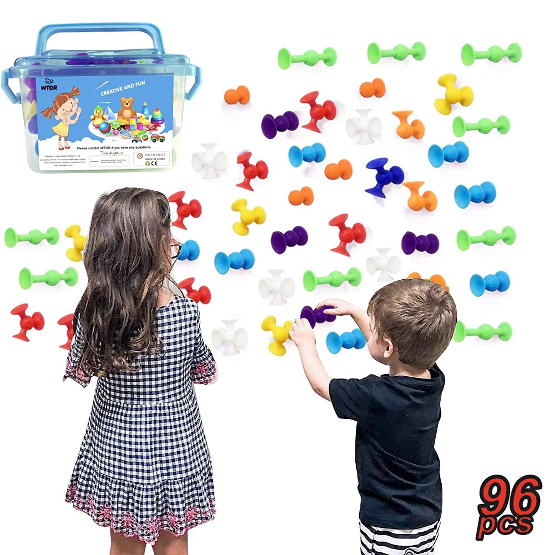 健全生き残ります伝説新感覚知育ブロック 96個セット 吸盤 おもちゃ 知育玩具 積み木 組み立て お風呂のおもちゃ オリジナル 誕生日 プレゼント DIY スクイグズ 男の子 女の子