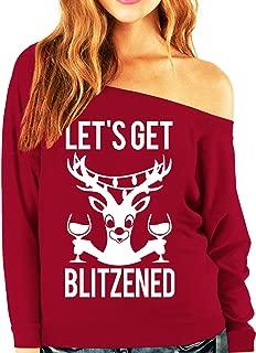 Let's Get Blitzened Christmas Slouchy Sweatshirt Scarlet Wine