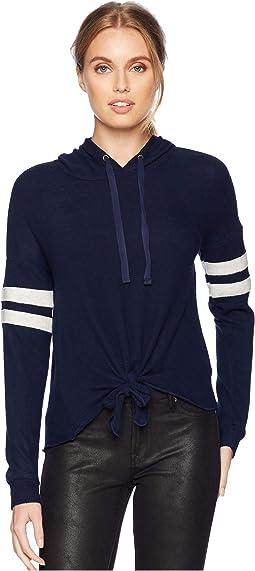 Oversized Drop Shoulder Long Sleeve Hooded String w/ Tie Hem