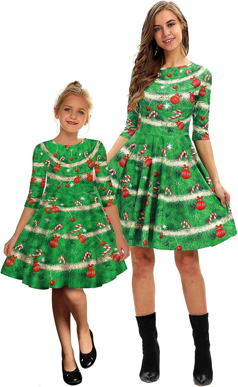 PIZOFF Womens Short Sleeve Casual A-Line Christmas Dress