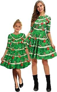 PIZOFF Women's Christmas Dress Print Half Sleeve Pullover Flared A Line Dress