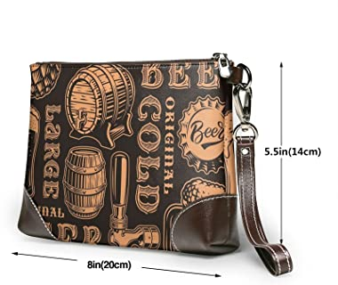 mengmeng Orane y negro retro sin costuras patrón con tema de cerveza Bolso de pulsera de cuero genuino Bolsos de muñeca para