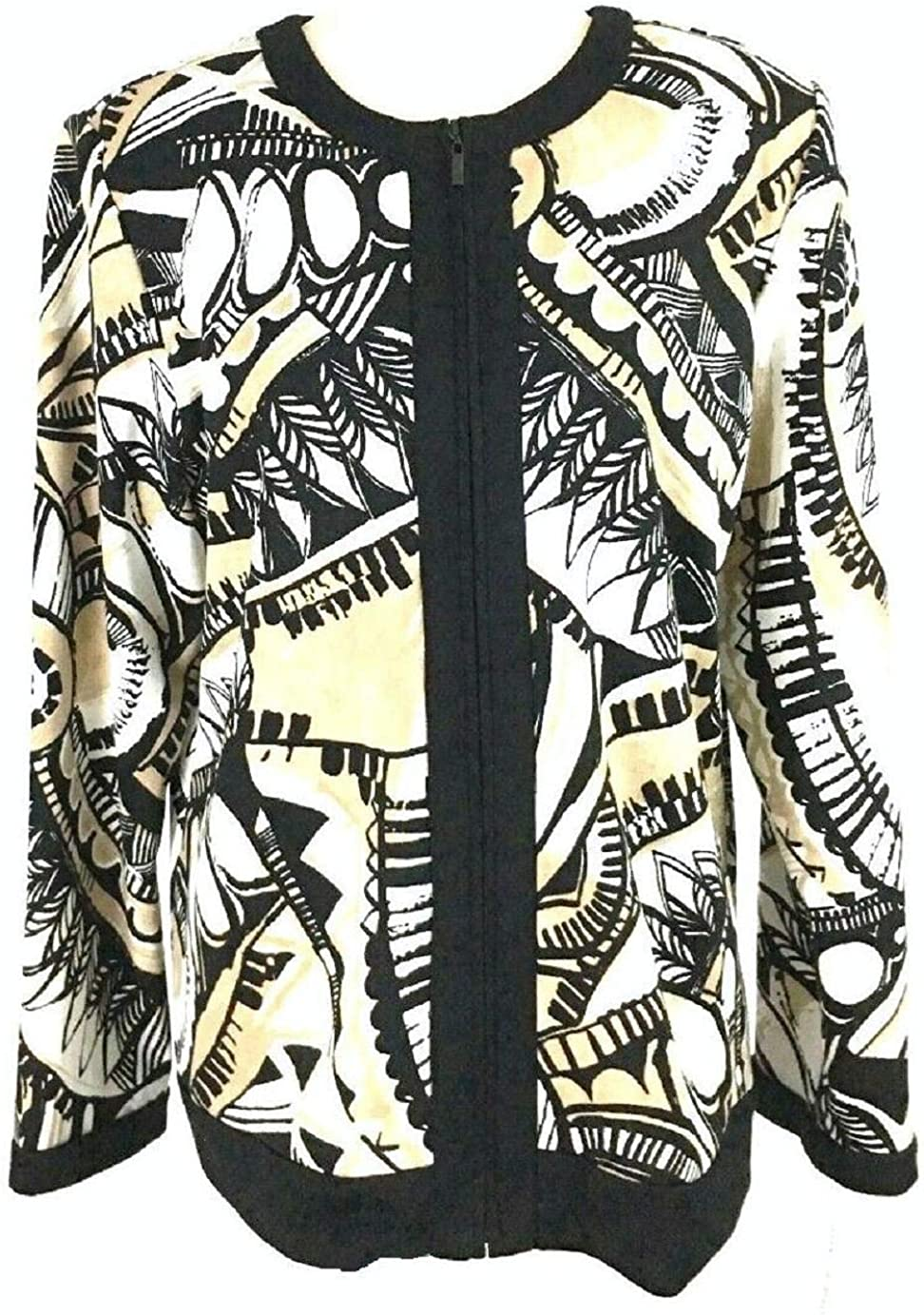 Alfred Dunner New Petite Noteworthy Aztec Jacket Size: 16P Color: Black Tan White