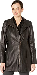 Cole Haan Womens Smooth Leather Car Coat w/Convertible Collar