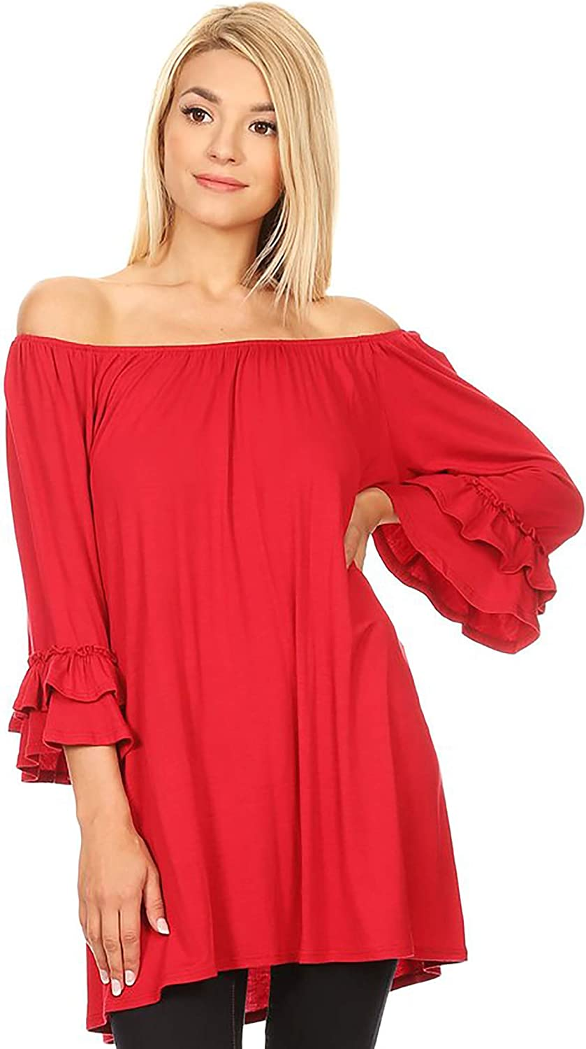 HEO CLOTHING Women's Plus & Regular Size Solid 3 4 Sleeve Tunic Off Shoulder Mini Dress Shirt Top Made in USA