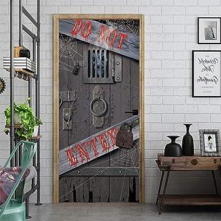 Sticker Porte 3D Porte Autocollant Halloween Horror Serrure De Porte Creative 3D Porte Autocollants Décoration De La Maiso...