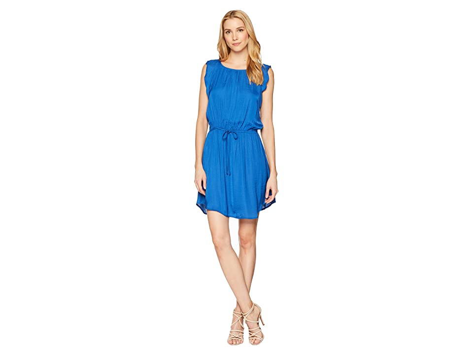 Vince Camuto Flutter Sleeve Tie Waist Rumple Dress (Amalfi) Women