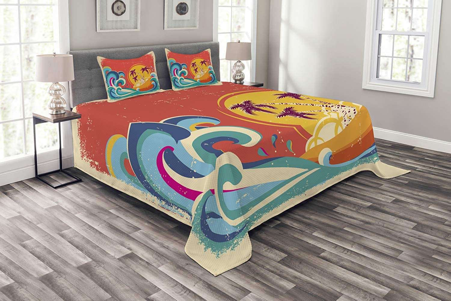 Lunarable Vintage Hawaii Bedspread Set King Size, Vintage Old Paper Style Tropical Island with Giant Waves Retro Background, Decorative Quilted 3 Piece Coverlet Set with 2 Pillow Shams, Multicolor