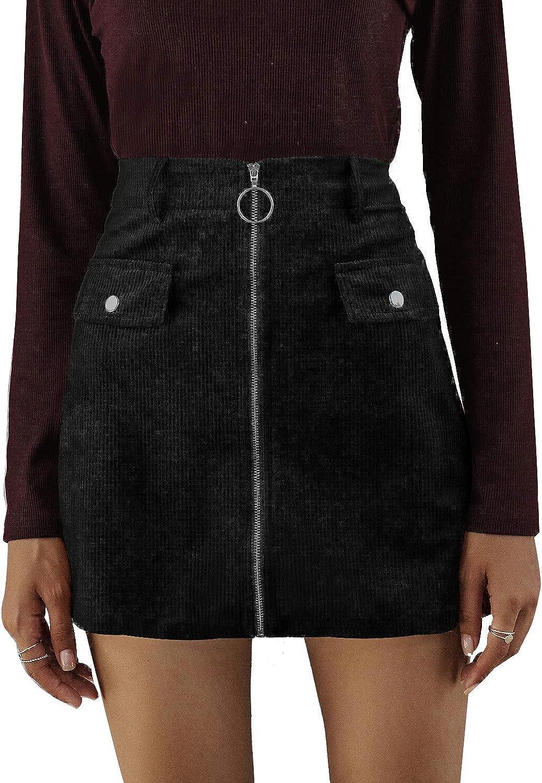 Autumn Winter Women 's Casual Corduroy Leopard Print Zip A-line Ladies High Waist Vintage Mini Women Mini Skirts