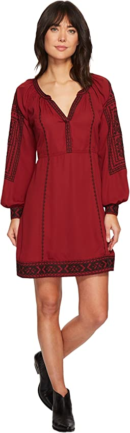 Stetson 1496 Poly Crepe Long Sleeve Loose Dress