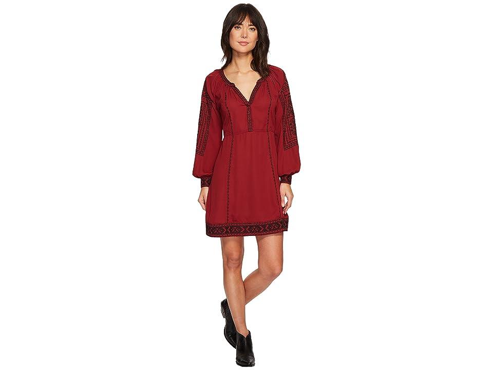 Stetson 1496 Poly Crepe Long Sleeve Loose Dress (Wine) Women