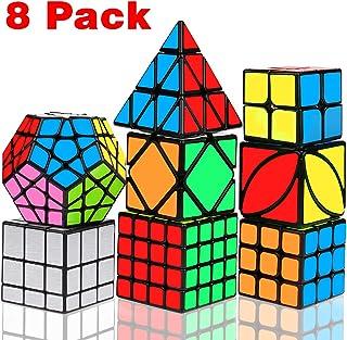 Speed Cube Set, Libay Magic Cube Bundle 2x2 3x3 4x4 Pyramid Megaminx Skew Mirror Ivy Sticker Cube Puzzle Collection Toy Pu...