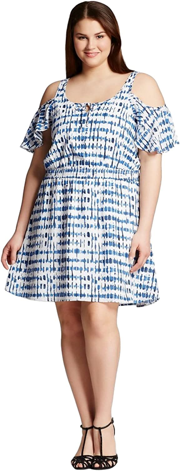 J'aime Women's (Juniors') Plus Size Cold Shoulder Printed Dress