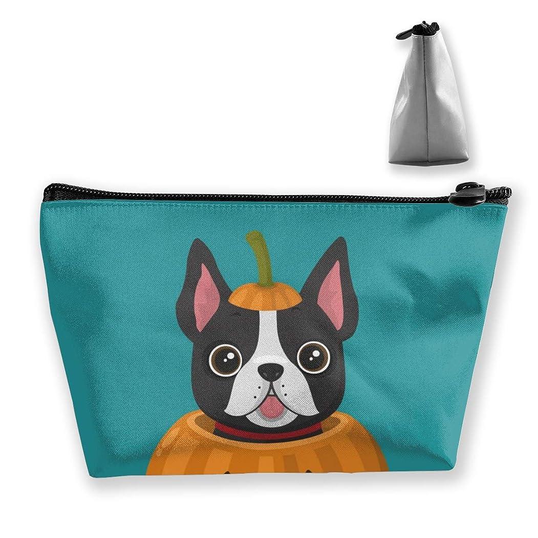 フック勧める目覚める子犬はお祝いカボチャに座っています。 ペンケース文房具バッグ大容量ペンケース化粧品袋収納袋男の子と女の子多機能浴室シャワーバッグ旅行ポータブルストレージバッグ